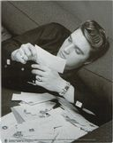 Elvis Presley - Reading Fan Mail - Stretched Wall