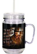 John Wayne - A Man's Got To - Mason Jar w/ Straw