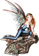 Steampunk - Redheaded Fairy Riding Dragon