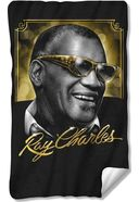 Ray Charles - Golden Glasses Fleece Blanket