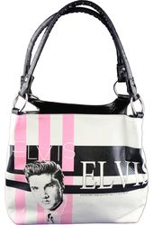 Elvis Presley - Pink Stripes Art - Purse
