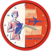 Airline Flight Attendant Time Flies - Clock