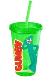 Gumby - 16 oz. Plastic Cold Cup with Lid & Straw