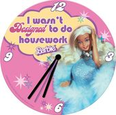 "Barbie - Round Decoupage 7"" Housework - Wall Clock"