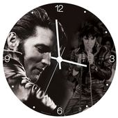 "Elvis Presley - 13.5"" Cordless Wood Wall Clock"