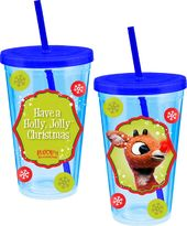 Rudolph 18 oz. Travel Acrylic Cup