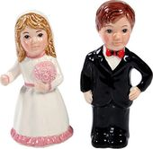 Wedding Couple Salt and Pepper Shaker - Pink Dress
