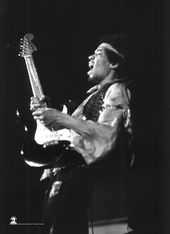 Jimi Hendrix - B&W with Guitar: Flag / Poster /