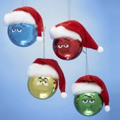 M&M = Set of Four Hats - Glass Christmas Ornament