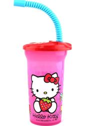 Hello Kitty - Red Cap - Sipper Bottle With Straw