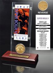 Football - Super Bowl 5 Ticket & Game Coin
