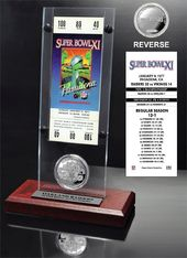 Football - Super Bowl 11 Ticket & Game Coin