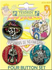 Tesoros - Skeletons Carded 4 Button Set