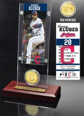 Baseball - Corey Kluber Ticket & Bronze Coin Desk