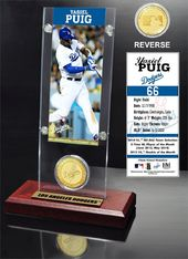 Baseball - Yasiel Puig Ticket & Bronze Coin Desk