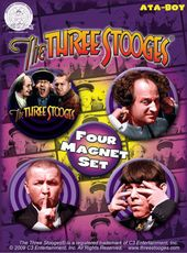 The Three Stooges - 4 Pack Round Magnet Set # 1
