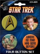 Star Trek - Captain Kirk Carded 4 Button Set # 4
