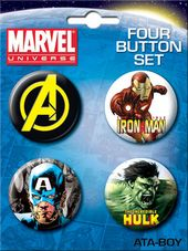 Marvel Comics - Avengers Carded 4 Button Set # 1