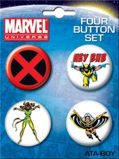 LMTD: Marvel Comics - X-Men Carded 4 Button Set
