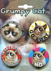 Grumpy Cat - 4-Piece Round Button Set