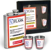 RX Prescription Flask Gift Set - 8 oz. Flask & 2