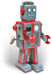 Retro Toy - Robot - Clockwork Tin Robot Gray