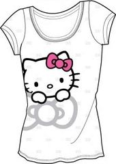 Hello Kitty - White Varsity - T-Shirt