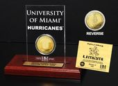 University of Miami Gold Coin Etched Acrylic