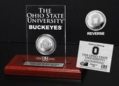 Ohio State Univeristy Silver Coin Etched Acrylic