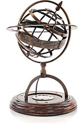 Brass Armillery With Compass On Wood Base