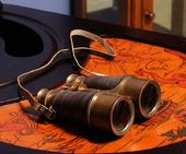 Binocular W Leather Overlay In Wood Box
