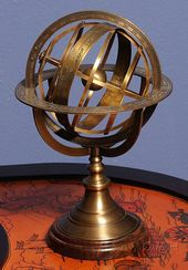 Armillary Sphere On Wood Base