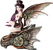 Steampunk - Brunette Fairy Riding Dragon