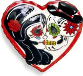 Day Of The Dead Skull Heart Dish - Red & White