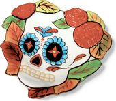 Day Of The Dead Skull Heart Dish - Leaves