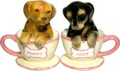 Dachshund Tea Cup Salt & Pepper Shaker Set