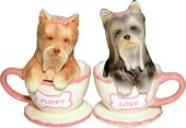 Yorkie Tea Cup Salt & Pepper Shaker Set