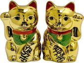 Golden Maneki Neko Salt & Pepper Shaker Set