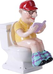 Grandpa On The Toilet - Magnetized Ceramic Salt &