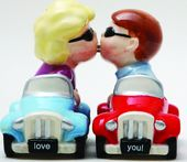 Kissing Couple in Cars Salt & Pepper Shakers