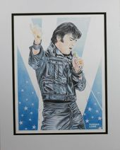 Elvis Presley - Drawing Black Leather Suit -
