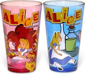 Alice in Wonderland - 2pc Pub Set Colored Glass