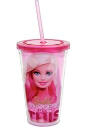 Barbie - 16oz Plastic Cold Cup w/Lid & Straw
