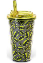 Batman Logo All Over - 16oz Plastic Flip Straw