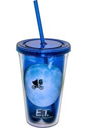 E.T. - Blue 16 oz. Plastic Cold Cup with Lid &