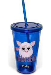 Furby - Adorable 16 oz. Plastic Cold Cup with Lid