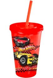 Hot Wheels - 16 oz. Red Plastic Cold Cup with Lid