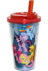 My Little Pony Glitter - 16oz Plastic Flip Straw