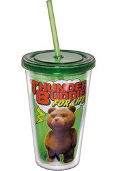 Ted - 16 oz. Plastic Cup with Lid & Straw