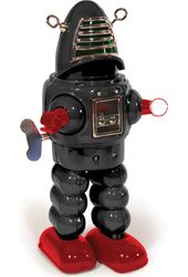 Planet Wind-Up Robot Tin Toy - Black